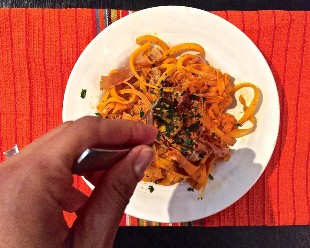 Pumpkin Butternut Squash Pasta and Prosciutto