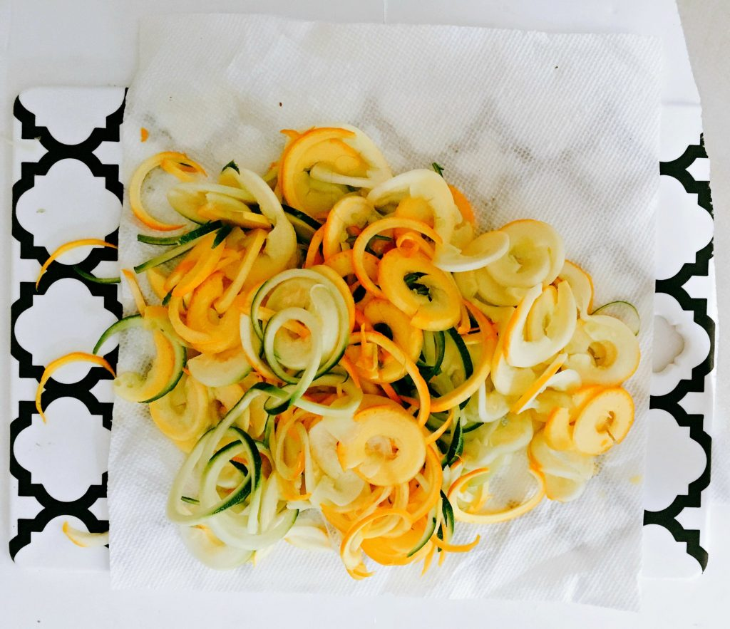 Spiralized vegetables dry with paper towel