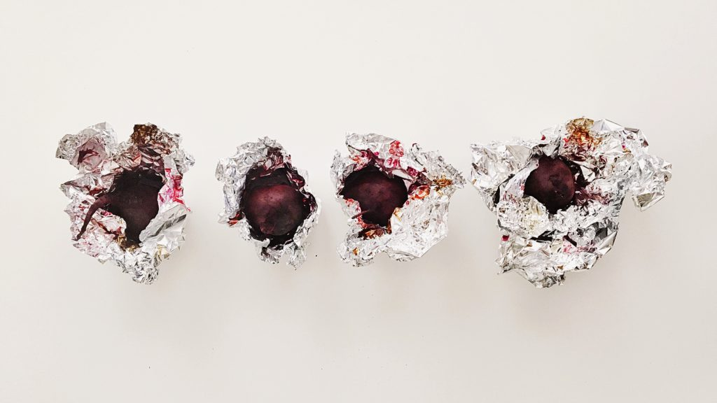Beets wrapped up in aluminum foil